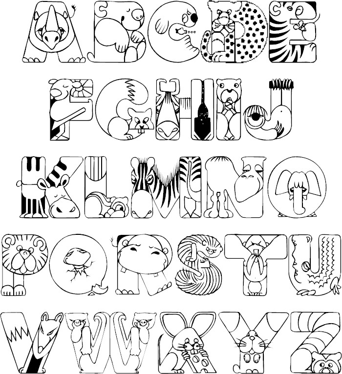 Coloring Pages For Alphabet Animals : Full alphabet coloring page