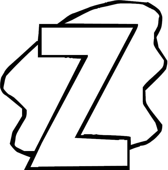 Letter z alphabet coloring page for The letter z coloring pages