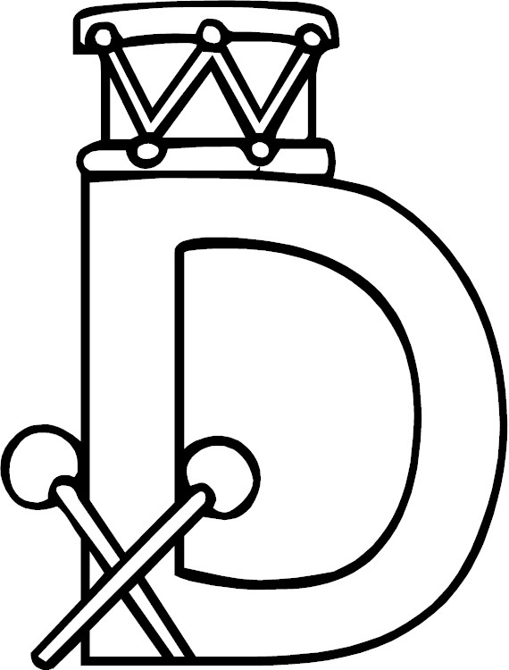 Letter d alphabet coloring page for Coloring pages for the letter d