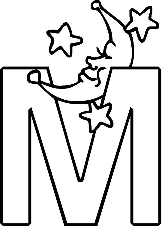 Letter M Alphabet Coloring Page