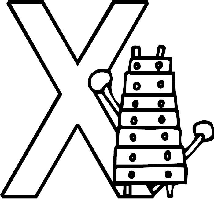 Letter X Alphabet Coloring Page